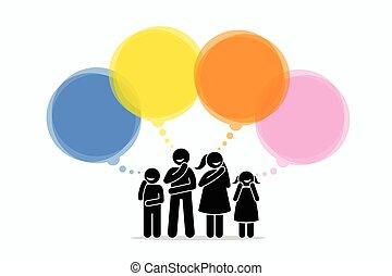gondolkodó, különböző, things., tagok, család