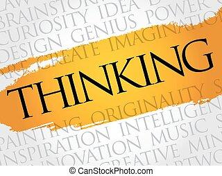 gondolkodó, kollázs, szó, felhő