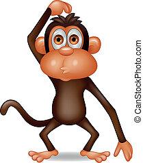 gondolkodó, majom, karikatúra