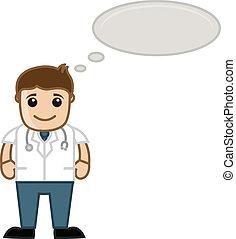gondolkodó, orvosi, -, karikatúra, orvos