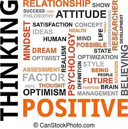 gondolkodó, szó, -, felhő, pozitív