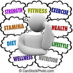 gondolkodó, wellness, diéta, személy, terv, szavak, alkalmasság gyakorlás