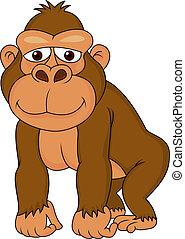 gorilla, karikatúra, csinos