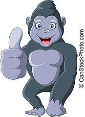gorilla, remek, furcsa, karikatúra