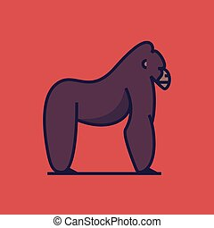 gorilla, vektor, ábra