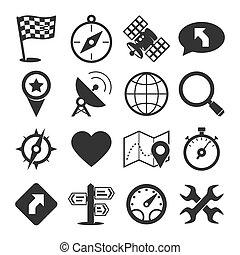 gps, állhatatos, navigáció, ikonok