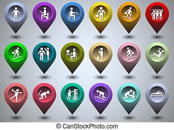 gps, forma, élet, jelképes, színes, ikonok