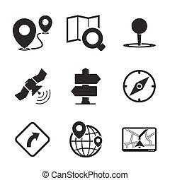 gps, navigáció, ikonok