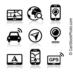 gps, utazás, vektor, navigáció, ikonok