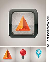 gps, vektor, navigáció, ikon