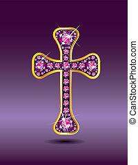 gránát, keresztény, kereszt, arany