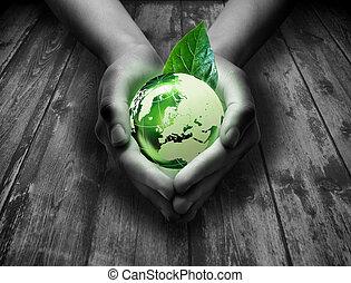 gra, szív, -, világ, zöld, kéz