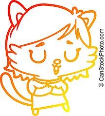 gradiens, rajz, meleg, leány, macska, egyenes