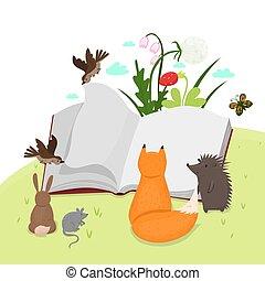 grafika, book., állatok, felolvasás, vektor