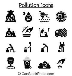 grafikus, állhatatos, ábra, vektor, tervezés, ikon, szennyezés