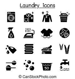 grafikus, állhatatos, ábra, vektor, tervezés, mosoda, ikon