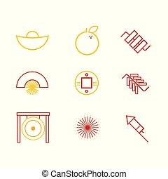 grafikus, áttekintés, kínai, elvont, ábra, szokás, vektor, ikon