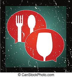 grafikus, élelmiszer, ital, vagy, beszél, ikon