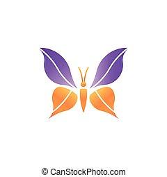 grafikus, bíbor, narancs, jel, lepke elpirul, vektor, tervezés