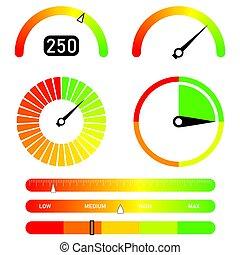 grafikus, bemetsz, speedometer., szín, fordulatszámmérő, elvont, kiegyenlít, elem, hitel, fogalom, max., alacsony, figyelmeztetők