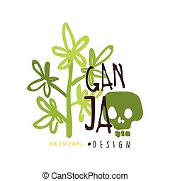 grafikus, címke, ganja, sablon, jel, tervezés, eredeti