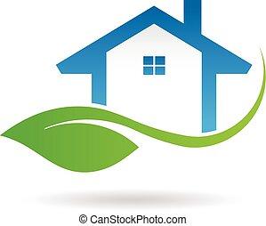 grafikus, eco, épület, vektor, tervezés, logo., barátságos