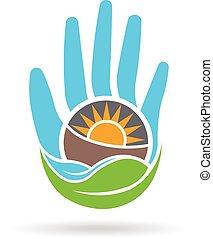 grafikus, eco, eltart, kéz, vektor, tervezés, logo., barátságos