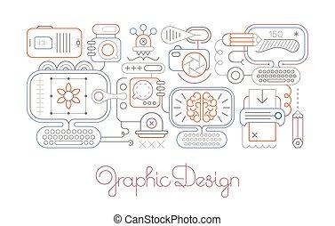 grafikus, egyenes, vektor, művészet, tervezés