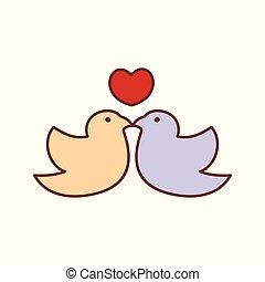 grafikus, elvont, ábra, vektor, csókol, madár, szerető