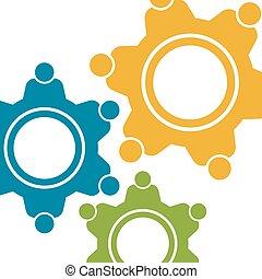grafikus, emberek, concept., motion., vektor, csapatmunka, fogaskerék-áttétel, tervezés