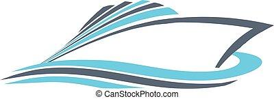 grafikus, erő, vektor, tervezés, gyors, logo., csónakázik