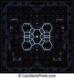 grafikus, felhasználó, futuristic, interface.