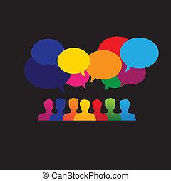 &, grafikus, hálózat, ikonok, média, emberek, -, vektor, online, társadalmi