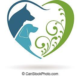 grafikus, heart., párosít, vektor, tervezés, szeret, kutyák