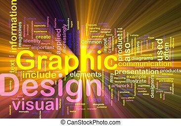 grafikus, izzó, fogalom, tervezés, háttér