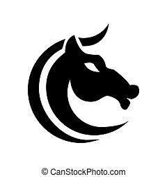 grafikus, jel, white ló, stilizált, c-hang, alakú, fekete