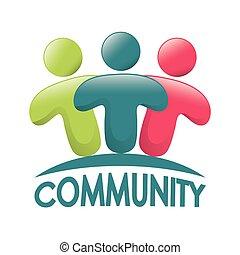 grafikus, közösség, emberek