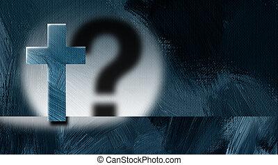 grafikus, keresztény, kérdez, kereszt, megjelöl, szereposztás, háttér, árnyék, reflektorfény