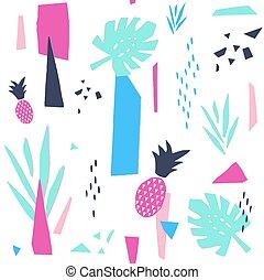grafikus, kollázs, pattern., seamless, dolgozat, divatba jövő, design.