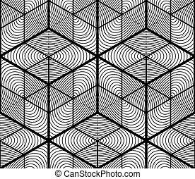 grafikus, motívum, részarányos, monochrom, geometriai, design., vég nélküli