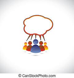 grafikus, színes, beszéd, emberek, beszélgető, communicating.