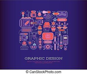 grafikus, vektor, tervezés, ábra