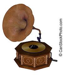 gramofon, -, render, 3