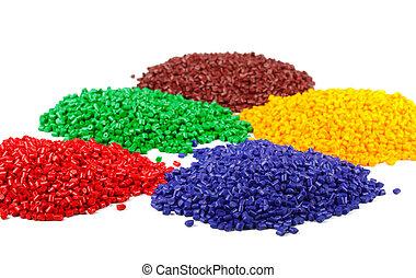 granules, színpompás, műanyag