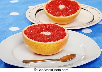 grapefruit, tányér