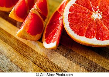grapefruit, tányér, szelet