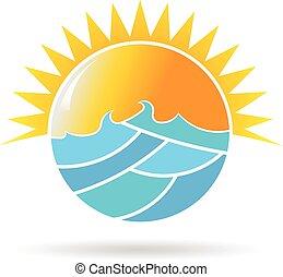 grapgic, nap, ábra, vektor, tervezés, tenger, karika, logo.