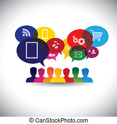 graphic., média, csevegés, háló, networking, fogyasztó, ikonok, média, -, kommunikáció, is, online bevásárlás, bevásárlás, használók, internet, grafikus, őt előad, kölcsönhatás, ez, &, vektor, társadalmi, vagy