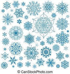 graphic rajzóra, hópihe, hó pehely, vektor, icons., gyűjtés, karácsony