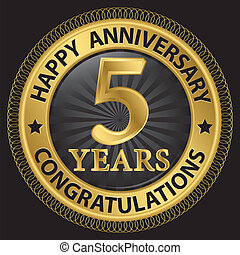 gratulálok, szalag, arany, évforduló, ábra, év, vektor, 5, címke, boldog